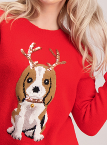 Online Exclusive PETITE Red Christmas Puppy Jumper