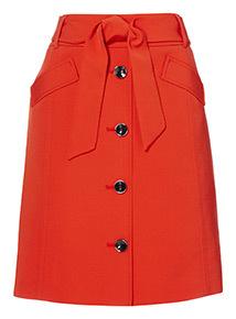 Tie Waist Button Through Skirt