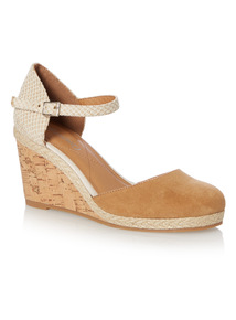 Two Part Cork Raffia Trim Wedge Sandal