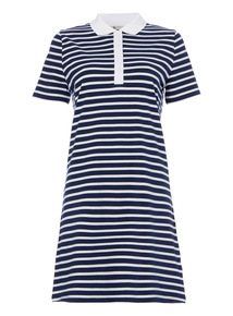 Navy Coastal Stripe Polo Dress