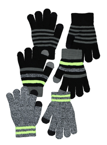 Multicoloured Magic Touch Screen Gloves 3 Pack (onesize)