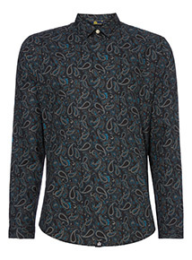 Admiral Black Paisley Long Sleeve Shirt