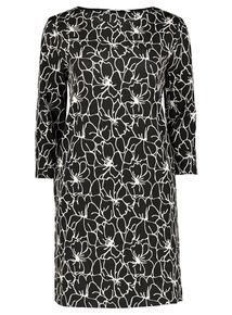 Monochrome Floral Jacquard Shift Dress