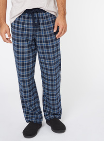 Navy Checked Pyjama Bottoms