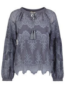 Premium Grey Lace Embroidered Blouse