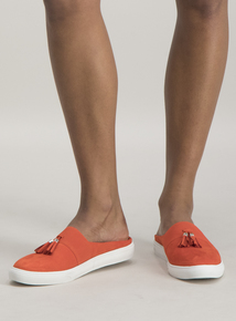f8761be53cc Sole Comfort Orange Tassle Mule Shoes