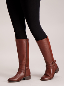 Sole Comfort Brown Leather & Suede Riding Boots