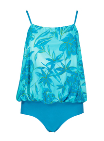 Blue Floral Blouson Swimsuit