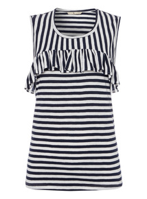 Navy Striped Frill Front Top