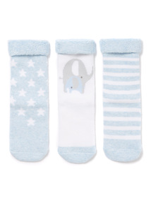 3 Pack Blue Patterned Terry Socks (0-24 months)