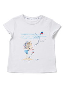 White 'Fly High My Little Kite' Print T-Shirt (0-24 months)