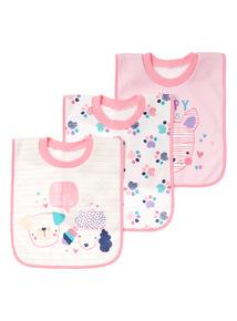 Pink Three Pack Dog Popover Bibs (0-24 months)