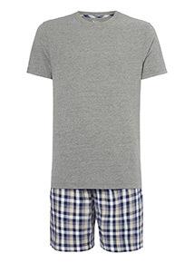 Grey Short Sleeve Tee And Checked Shorts Pyjamas