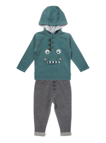 Green Dinosaur Hoodie And Jogger Set (0-24 months)