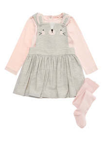 3 Piece Grey Bunny Pinny, Bodysuit and Tights Set (0-24 months)