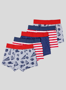 Multicoloured American Sports Trunks 5 Pack (3-14 years)
