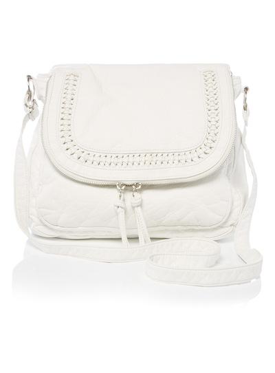 White Woven Detail Cross Body Bag