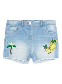 Girls Denim Badge Shorts (3 - 12 years)