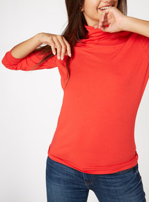 Online Exclusive Red Roll Neck Top