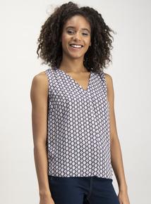Multicoloured Tie Print Shell Top