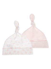 Pink And White 2 Pack Hats (0-6 months)