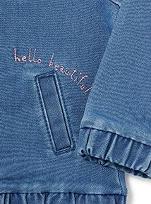 Blue Floral Embroidered Bomber Jacket (0-24 months)