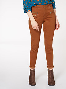 Tan Zip Detail Moose Trouser