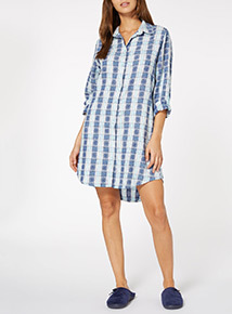 Plaid Snowflake Print Nightshirt