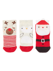 3 Pack Multicoloured Christmas Socks (0-24 months)