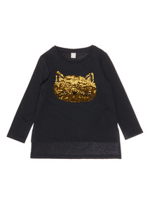 Black Two Way Sequin Cat Tee (9 months-6 years)