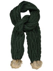 Green Cable Knit Pom-Pom Scarf