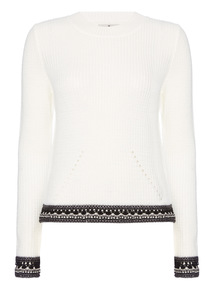 Online Exclusive Cream Crochet Trim Open Back Jumper