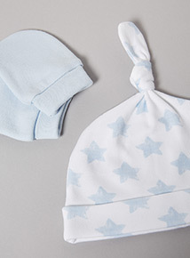 Blue Scratch Mitt and Tie Top Hat Set (Newborn-24 months)