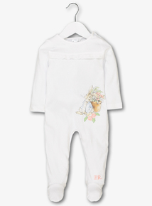 Online Exclusive Peter Rabbit White & Pink Sleepsuit (newborn - 12 months)
