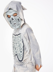 Grey Halloween Ghost Reaper with Mask and Sound Outfit (3-12 years)
