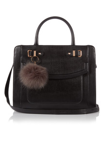 Multi Compartment Faux Fur Pom Bag