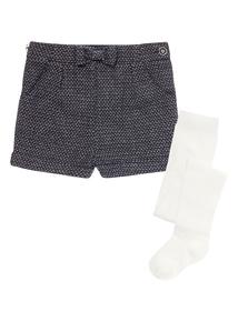 Girls Navy Sparkle Tweed Shorts (9 months-5 years)