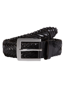 Black Leather Plaited Belt