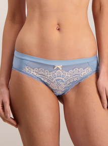 Blue Luxury Lace Brazillian Knickers
