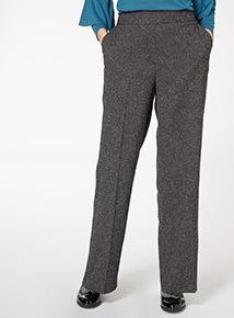 Grey Space Dye Wide Leg Trousers