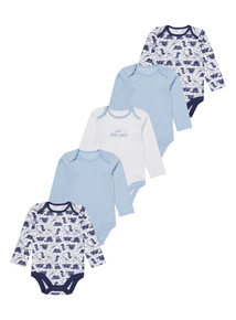 Blue Dinosaur Bodysuits 5 Pack (0-3 years)