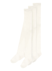 Girls Cream Textured Trim Tights 3 Pack (0-24 months)