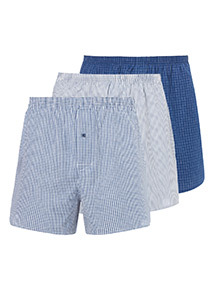 3 Pack Blue Woven Boxers