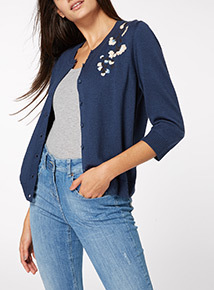 Embroidered Crew Cardigan