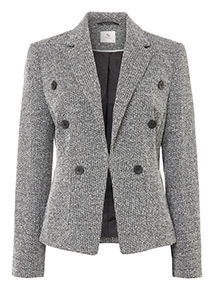 Grey Button Detail Double Breasted Blazer