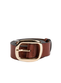 Tan Leather Gold Buckle Belt