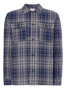 Navy Check Quilt Lined Overshirt