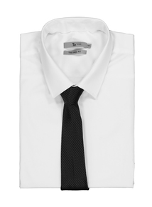 White Tailored Fit Long Sleeve Shirt With Black Tie Set