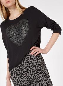 Black Leopard Heart Print Top