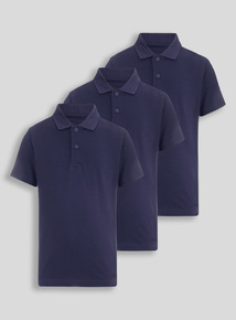 Unisex Navy Polo Tops 3 Pack
